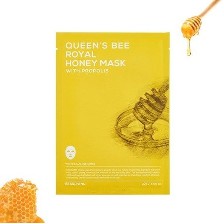 Maska w płachcie z propolisem (QUEEN'S BEE ROYAL HONEY MASK WITH PROPOLIS) Beaudiani