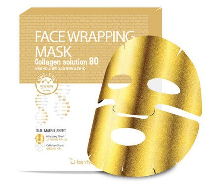 Złota maseczka w płachcie z kolagenem morskim (Face Wrapping Mask Collagen Solution 80) Berrisom